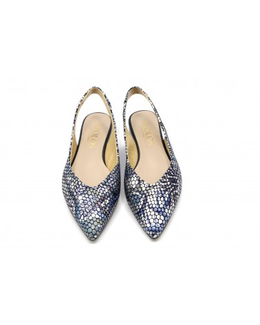 Zapato plano estampado azul