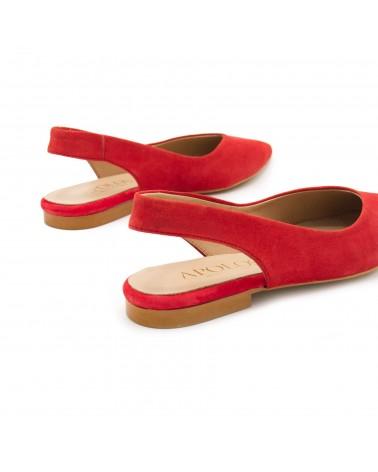 Red open flat shoe