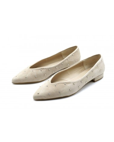 beige suede studded shoe