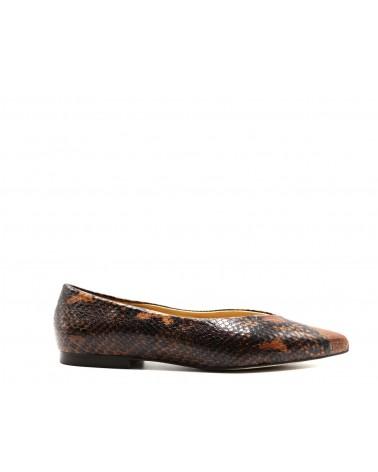 Brown python flat shoe