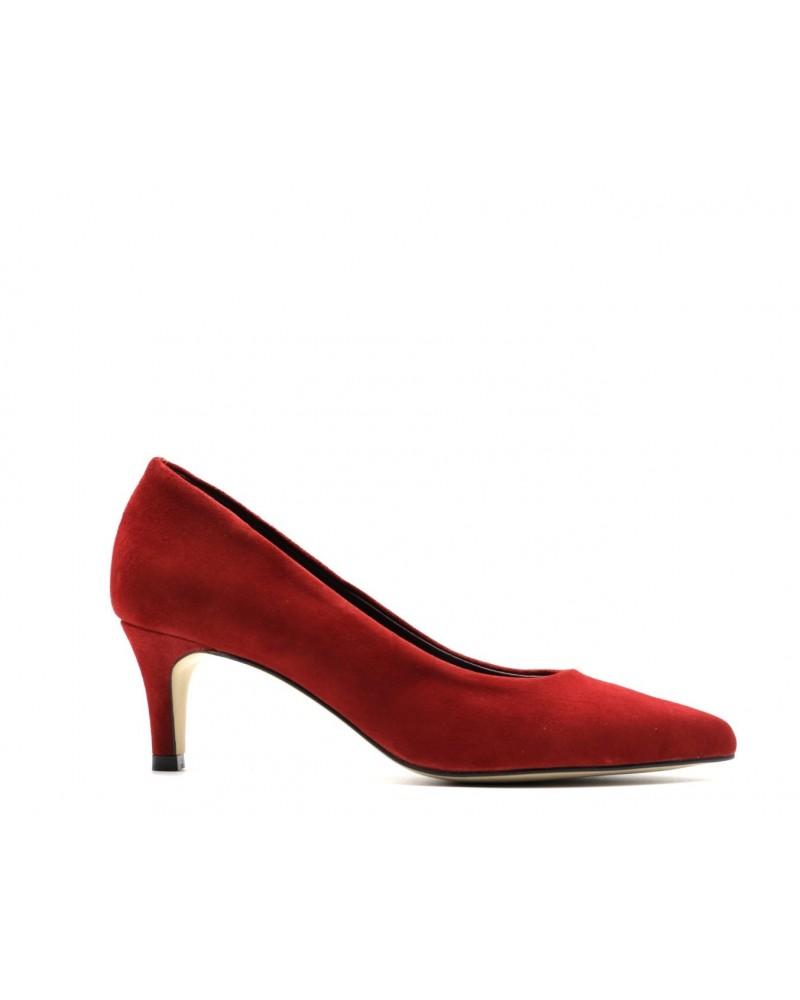 Red stiletto suede shoe