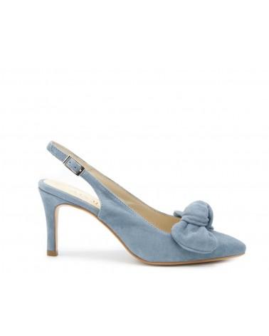 Blue suede lounge shoe