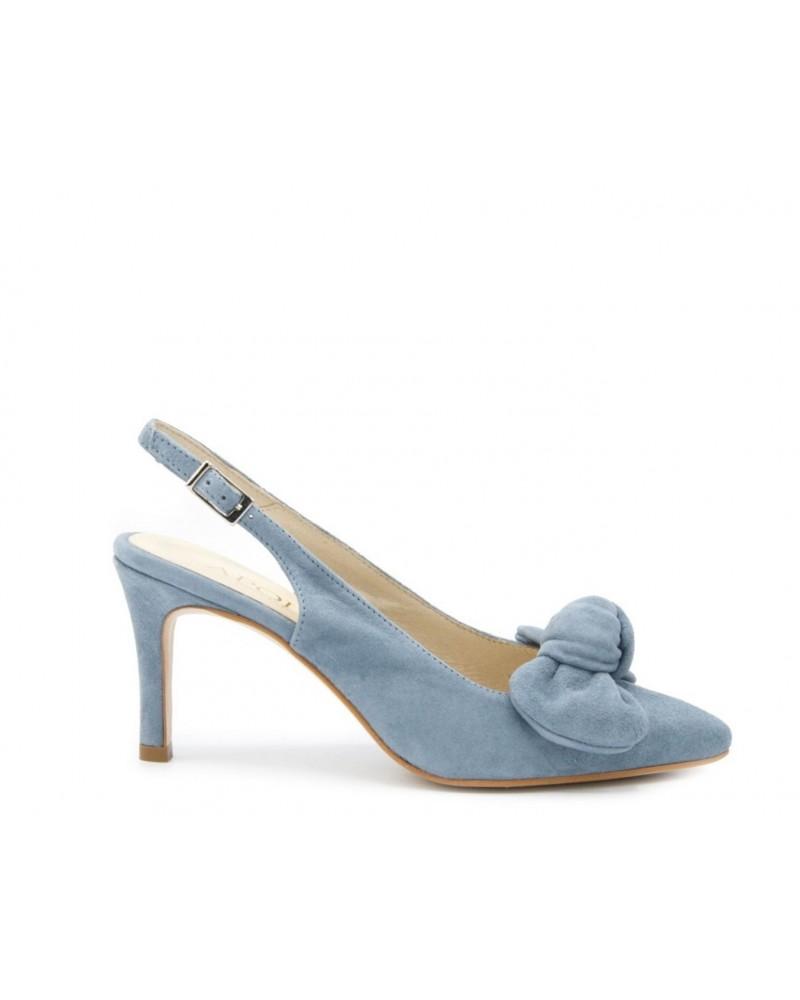 Zapato salón ante azul