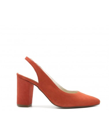 Zapato salón destalonado coral