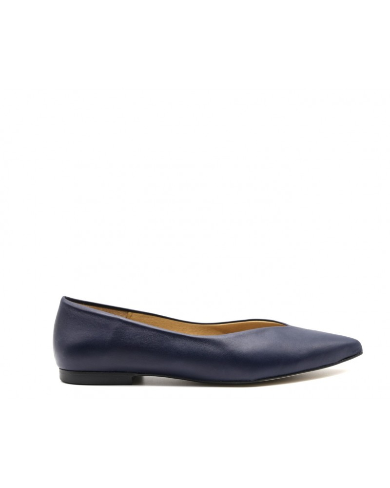 Flat shoe nappa leather marine