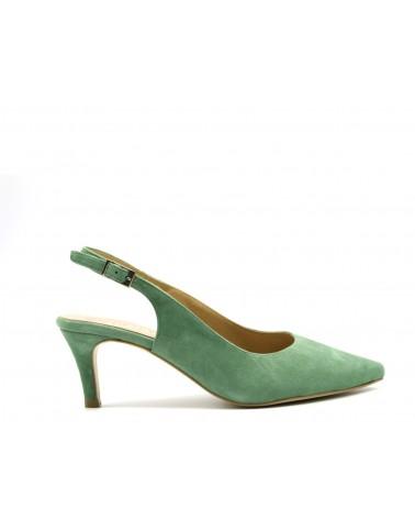 Suede pumps with suede heel