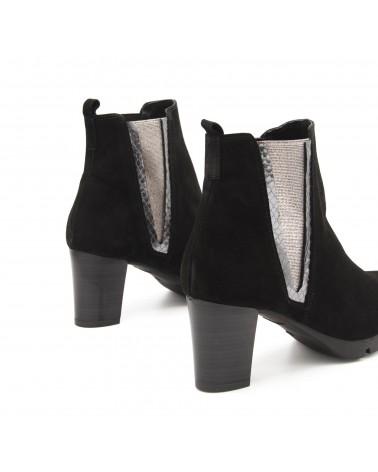 Silver black elastic boot